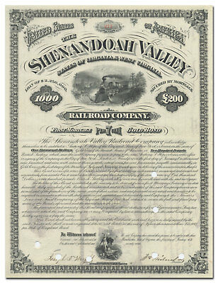 Shenandoah Valley Railroad Company Bond Certificate (1879)