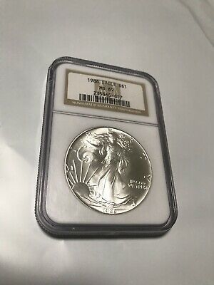 1986 AMERICAN SILVER EAGLE NGC MS69-Brown Label