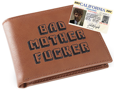 Brown Embroidered BMF (Bad Mother Fu**er) Leather Coin Pocket Wallet Jules ID