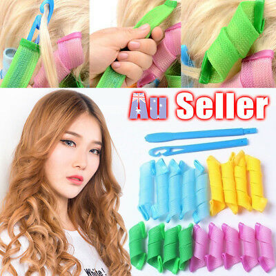 18pcs Magic Hair Curler No Heat Leverage Curlers Formers Spiral Styling RolleF9