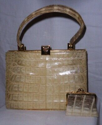 """Healthy Size 8"""" by10"""" Genuine Natural Crocodile 1970's Grab Bag Matching Purse.."""