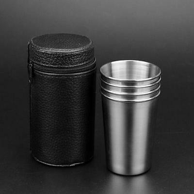 Stainless Steel PU Cover Cups Shot Case Coffee Tea Beer Camping Tumble Mug 6A