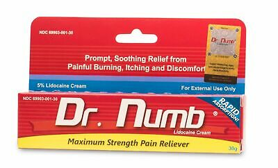 Dr Numb Lidocaine Cream Numbing 30g Skin Tattoo Waxing Piercing Exp. 11/2021