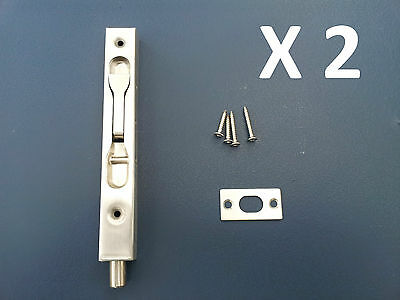 2 X FLUSH BOLTS 150mm STAINLESS STEEL DOOR DEAD LOCK