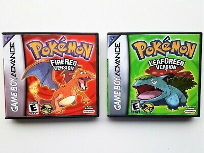 Pokemon Leaf Green + Fire Red w/ Custom Repro Box Case Gameboy GBA (USA Seller)