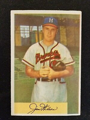 1954 Bowman Baseball Card 16 Jim Wilson Milwaukee Braves