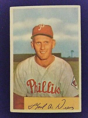 1954 Bowman Baseball Card 191 Karl Drews Philadelphia Phillies