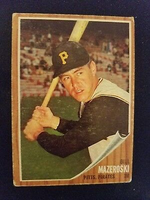 1962 Topps Baseball Card 353 Bill Mazeroski Pittsburgh Pirates Hof