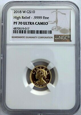 2018 American Liberty Gold High Relief 1/10 oz Proof $10 NGC PF70