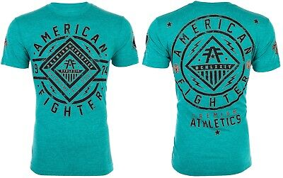 AMERICAN FIGHTER Mens T-Shirt BIRCHWOOD Athletic CRYSTAL BLUE Biker Gym UFC $40