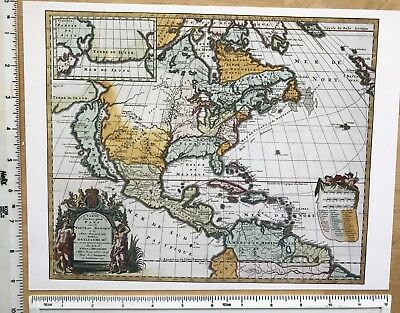 "Antique Old Colour Vintage MAP 1600s North America 1698 Hennepin 12 X 9"" Reprint"