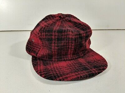 5f7bd7641b5 VINTAGE Woolrich Plaid Flannel Hat Red Black Wool Elmer Fudd Hat Made In USA