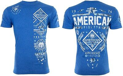 AMERICAN FIGHTER Mens T-Shirt MCCORMICK Athletic MARINE BLUE Biker Gym UFC $40