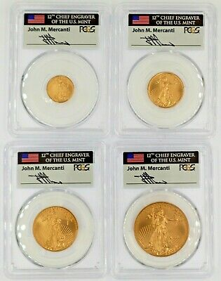 2019 Gold Eagle MS70 4 Coin set PCGS First Day of Issue J Mercanti ($5,10,25,50)