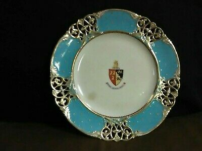 (Rare)Exquisite Armorial Reticulated Filigree Hand Painted Gold/LIght Blue Plate