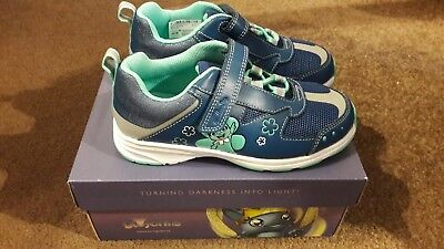 Brand New Girls Clarks Blue Leather Trainers 12G Reflect Ice Inf