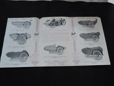 ORIGINAL SCOTT MOTORCYCLE SIDECAR PRICE LIST SALES BROCHURE CATALOGUE c1920