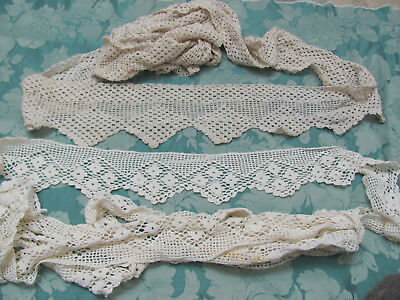 LOT 13Pc EDWARDIAN Hand-Crochet LACE PETTICOAT PILLOWCASE TRIMS, HARDANGER $15.