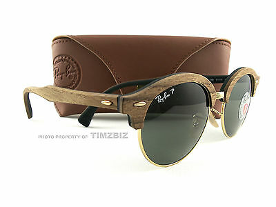 b48326fc9e New Ray-Ban Sunglasses RB4246M Clubround Wood Polarized 1181 58 Authentic