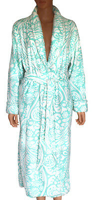 Noire Jasmine Rose Plush Robe Women s Bathrobe Turquoise Sculpted Damask  Size M 0a27a97fd