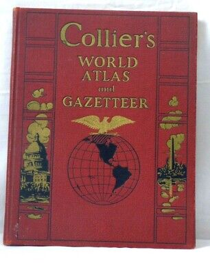 """Large 11"""" X 14"""" Old Collier's World Atlas & Gazetteer Antique Book Dated 1939"""