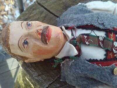 GERMAN ANTIQUE 19th CENTURY FOLK ART CARVED WOOD OR PAPER MACHE DOLL FIGURE