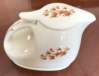 UNIVERSAL POTTERIES INC NBOP Cambridge BITTERSWEET Milk Pitcher+Lid 1930s Rare!