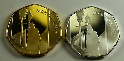 Pair JACK THE RIPPER Silver & 24ct Gold Commemorative Coin Albums/50p Collectors