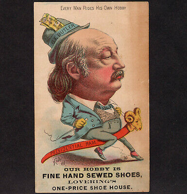 GENERAL B F  BUTLER 1800's Presidential Ram Hobby Horse old Victorian Trade  Card
