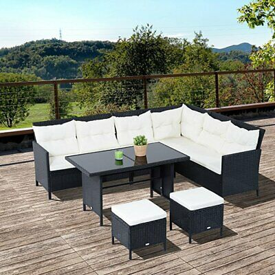 6pcs Rattan Wicker Sofa Sectional Couch 8 Seats Dining Table and Chair Cushion
