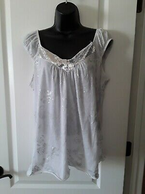 3e99fbdf974dd BANABEE 🌸White Tank Top Sleeveless Blouse Silver Floral and Sequin Trim Size  2X