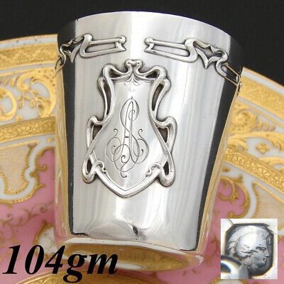 """Antique French Sterling Silver Art Nouveau Wine or Mint Julep Cup, Tumbler, """"AS"""""""