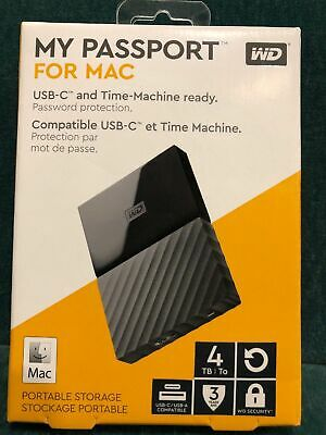 WD 4TB My Passport MAC Portable External Hard Drive USB C & A WDBP6A0040BBK-0a