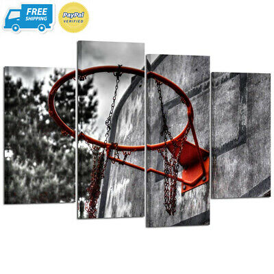Kreative Arts 4 Piece Black White and Red Canvas Wall Art Old Basketball...