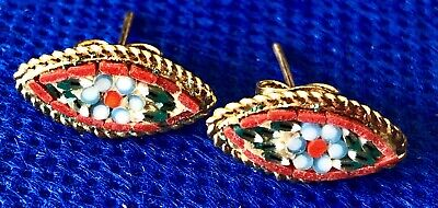 Micro Mosaic Flower Pierced Gold Tone Earrings Vintage