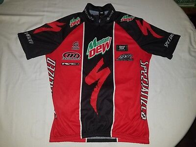 Specialized Cycle Cycling Bike Mountain Dew Full Zip Short Sleeve Jersey L  Red 99f0632a0