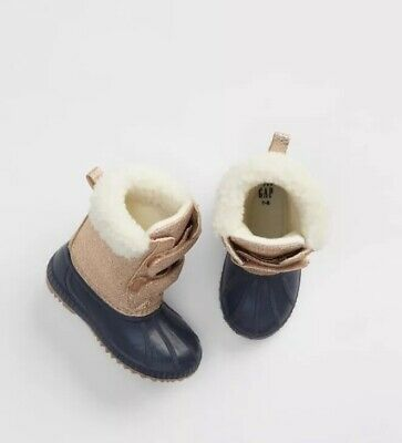 Toddler Boy Size 5 US GAP Baby 22 EU Brown Sherpa-Lined Boots Booties Shoes