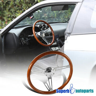 Vintage Style Wood Grain Classic 6 Hole Steering Wheel Aluminum 370mm