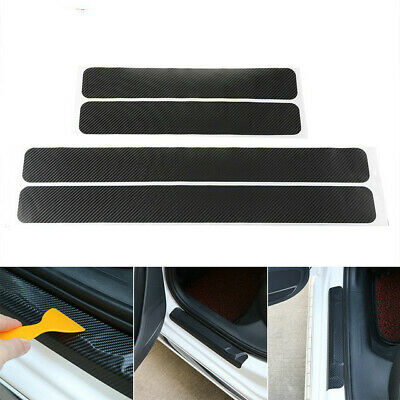 3D Carbon Fiber Black Car Door Sill Scuff Plate Cover Anti Scratch Sticker 4Pcs