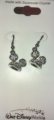 Disney Swarovski Crystal  Mickey Mouse Ear Hat Dangle Post Earrings