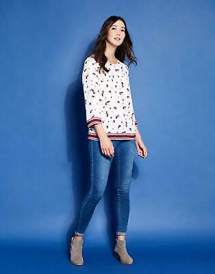 Joules Womens Prin Trim Detail Top in Cream Pansy