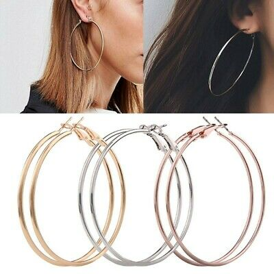 3 Pairs Women Large Sterling Silver, Rose Gold and Gold Plated Hoop earrings