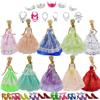 5 Certain Dress Party Evening Ball Gown Pink Purple Clothes For 12in. Doll FA