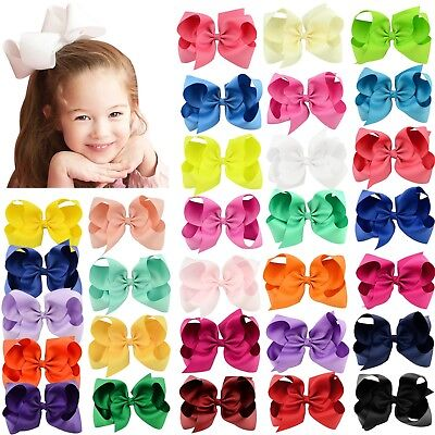 30pcs 6in Big Grosgrain Ribbon Hair Bows Clips for Baby Girls toddler Kids Teens