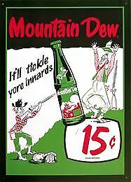 Mountain Dew Vintage Tin Metal Sign Garage/Man Cave Wall Art