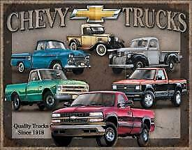 Chevy Trucks Vintage Tin Metal Sign Garage/Man Cave Wall Art