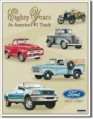 Ford Trucks Eighty Years Anniversary Tin Metal Sign Garage/Man Cave Wall Art