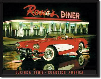 Rosies Diner Corvette Vintage Tin Metal Sign Garage/Man Cave Wall Art