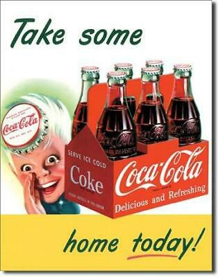 Coca Cola - Take Some Home Today Vintage Tin Metal Sign Garage/Man Cave Wall Art
