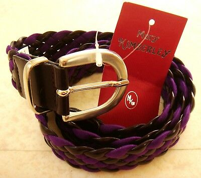 fe6a78ceab4 Mary Kimberley Ceinture Tressee Cuir Synthetique Violet Prune Femme Belt  Woman